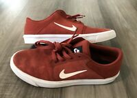 Nike SB Portmore Red White Suede Boys Size 6y Skateboarding Sneaker Shoes