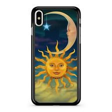 Celestial Crescent Moon Dangling Star Lush Sun Faces Cloudy Sky Phone Case Cover