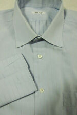 GORGEOUS $695 Fray Light Blue With Silver Stripe French Cuff Shirt 16x35 Italy