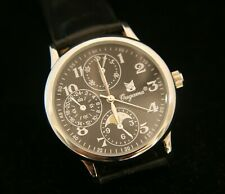 New military style oversize Ougama men's quartz silver on black wristwatch