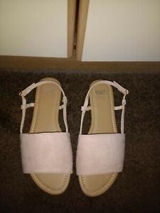 Faith Wide Fit Bright Pink Suede Sandals Size 6 (EUR 39)