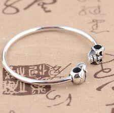 925 Sterling Silver  skull  bracelet bangle cuff Jewelry  P44