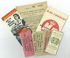7 World War 2 Home Front Tokens / Cards / Leaflets / Bookmark 1940 Vintage