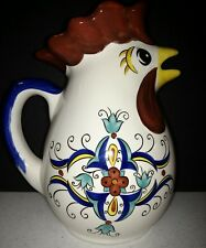 Pier 1 SAN MARINO Rooster Pitcher Red Blue Yellow Scrolls EUC