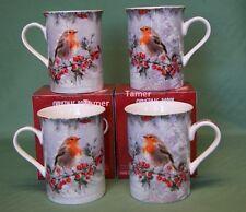 Set of 4  Xmas Christmas Robin Mugs By Leonardo BNIB - Robin Fine China