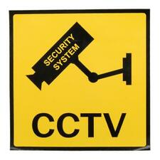 3PCS CCTV Camera Security System Warning Signs Bright Yellow Wall Stickers