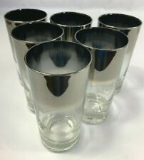 """Set of 6 Vintage Silver Luster Fade Tumblers Drinking Glasses 5.5"""""""