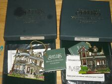 2 Shelia's 3D Historical Ornaments Banta House Os804 Tinker Toy House Oc501 Nos
