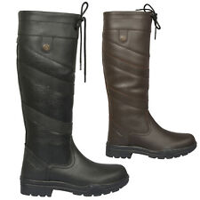 Ladies Mens Unisex New Winter Horse Farm Wellies Leather Country Boots Size 3-11
