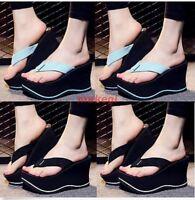 Womens Wedge High Heels Platform Flip Flops Slippers Sandals Shoes UK Size