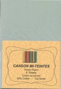 """A pack of 8 sheets """"CANSON MI-TEINTES PASTEL PAPER"""" Colour """" SKY GREY """" ."""