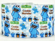 "7/8"" 2 YARDS Baby Cookie Monster Grosgrain Ribbon Sesame Street Crafts Cards Bow"