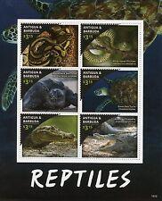Antigua & Barbuda 2016 MNH Reptiles 6v M/S Snakes Turtles Crocodiles Stamps
