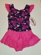 Jacques Moret Girls Dance Leotards Flutter Skirtall Pink Bow Hearts 12/14 New