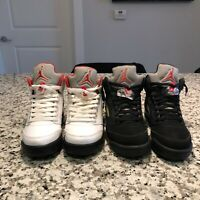 BUNDLE LOT NIKE AIR JORDAN RETRO 5s Size 6.5 'Fire Red' & 'Metallic' 5s Supreme