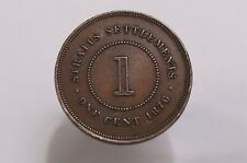 STRAITS SETTLEMENTS 1 CENT 1876 SHARP DETAILS B31 #5865