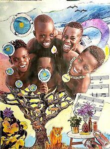 "Black Americana Collage mixed media ""The Tree of Life"" by Leonard Davis"