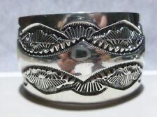 Sterling Silver X-Wide Cuff Bracelet Native American Navajo Marc Antias