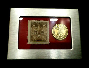 German WW2 Rare 10 Rp Brass Coin & Stamp in a Secure Silver Metal Disp Frame