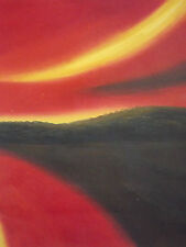 minimal beach sunset ocean sea oil painting canvas abstract red yellow original