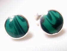 Very Small Malachite Circles 925 Sterling Silver Stud Earrings