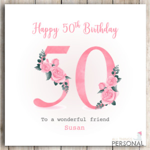 Personalised 50th Birthday Card Handmade for Daughter Sister Friend Mum Fifty