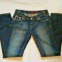 Rock n roll cowgirl jeans low rise denim blue Jean's 29 x 34 bling flap pockets