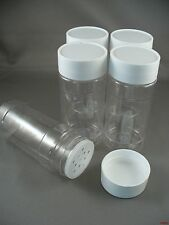 SPICE BOTTLES JARS 4 oz  CLEAR w/Sifter Caps Lot of 5 FREE US SHIPPING 4oz