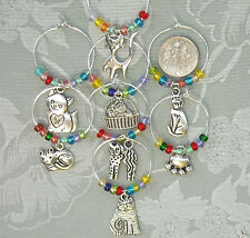 8 Cat Lovers Kittens Colorful Beads Wine Glass Charms SPCA . FREE SHIP