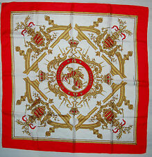 Authentic Hermes Deo Juvante Moncaco Red Silk Scarf Foulard Carre