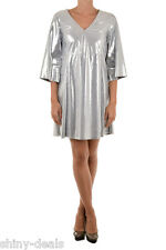 DROME New Woman Silver Leather V-Neck Pleated Shift Pencil Mini Dress Tunic Sz S