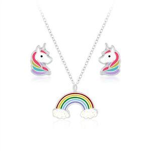 925 Sterling Silver Rainbow Unicorn Enamel Pendant Necklace Earrings Set Kids