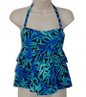 Island Escape blue floral tiered bandeau tankini top size 6 swimsuit new