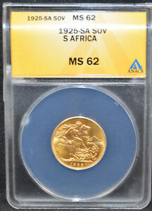1925-SA South Africa George V Gold Sovereign MS62 ANACS