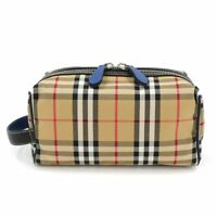 BURBERRY Second Clutch Bag Porch Canvas Leather Beige Black 4074725 90110051