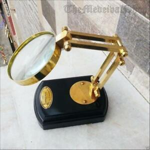 Solid Brass Tabletop Magnifying Glass Brass Magnifier Vinta ge Style Desktop Gif