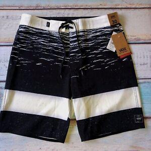 VANS Era Board Shorts Mens Black & White Ocean Sunset 4 Way Stretch New