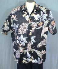 RJC Black XL Reverse Print Aloha Hawaiian Shirt Bird of Paradise Cotton