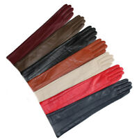 "women 47cm(18.5"") long lines style evening elbow real leather gloves (9 colors)"