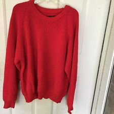 Eddie Bauer Sweater Mens XL Red100% Cotton Chunky Ribbed Knit Pullover Crew Neck