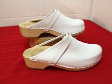"""New other sz 41 White leather 2"""" heel classic wood Dutch clog"""