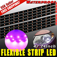 "8pcs 120CM/47"" Car Motors Truck Flexible LED Strip Light Waterproof 12V Purple"