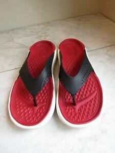 Crocs LiteRide Men's Size 9 Women's 11 Flip-Flops Black/Red Comfort Sandals