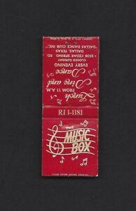 Vintage The Music Box Dance Club Dallas Texas Matchcover Ph RI 1-1181
