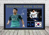 Heung Min Son Signed Photo Tottenham Hotspur Spurs Poster Football Memorabilia
