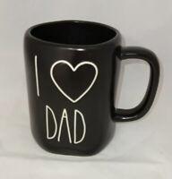 "RAE DUNN Black Mug ""I Heart DAD'"" By Magenta - NEW"
