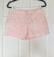 Ann Taylor LOFT Women's White & Pink Linen Shorts Size 2