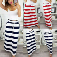 Women's Spring Lace Up Striped Hight Waist Maxi Casual Long Trendy Pencil Skirt