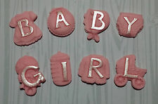 8 Pink baby girl letters edible cupcake cake toppers christening,birthday,shower