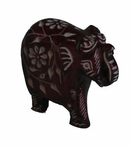 Elephant with Flower Design Figurine Hand Carved Soapstone Brown - 7.5cm